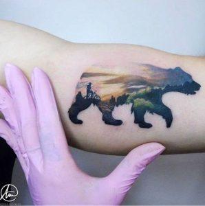 Colored Landscape Bear