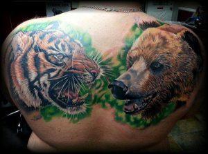 Tiger And Bear Body Art