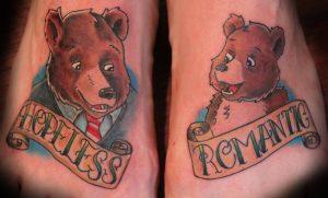 Bear Tattoo On Both Feet