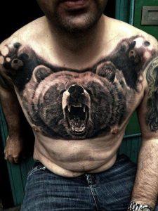 Roaring Bear Chest Tattoo
