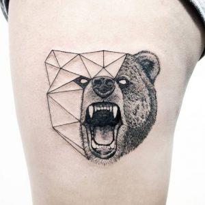 Roaring Bear In Geometric Drawing