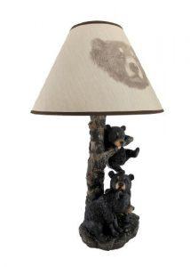 Black Bear Family Table Lamp W/ Tree Bark Print Shade: Gifts for bear lovers