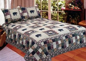 American Hometex Black Bear Medley Queen Quilt Set: Gifts for bear lovers